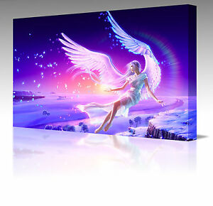 Pink-Angel-Wings-Fantasy-A2-20-Modern-Framed-Canvas-Art-Picture-Print