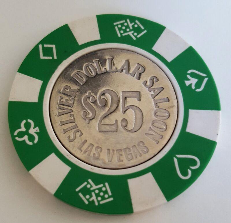 $25 Las Vegas Silver Dollar Saloon Casino Chip - Near Mint