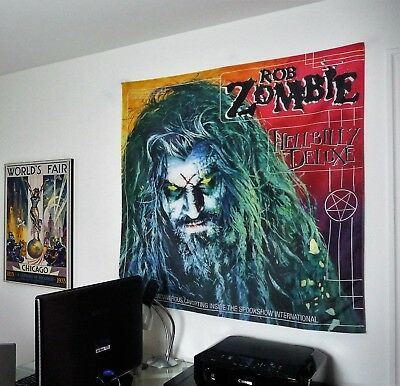 ROB ZOMBIE Hellbilly Deluxe HUGE 4X4 BANNER fabric poster tapestry cd album