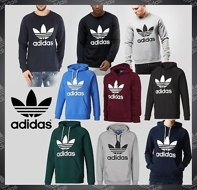 Adidas Originals Mens Trefoil Logo Fleece Pull Over Hoodie Crew Neck Sweat shirt