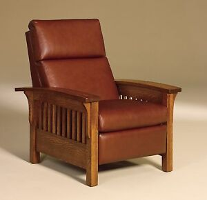 amish mission stickley arts crafts recliner chair heartland slat wood