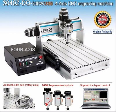 Usb Port Four 4 Axis 300w 3040 Cnc Router Engraver Engraving Milling Machine
