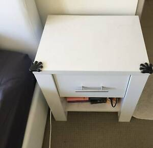 BED SIDE TABLE WITH DRAWER X 2  WHITE COLOUR PRE ASSEMBLED