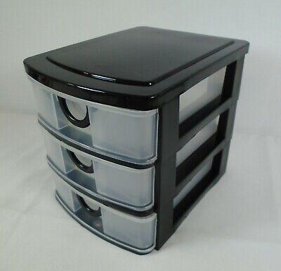 3 Drawer Mini Storage Desktop Organizer Unit Black Clear Plastic