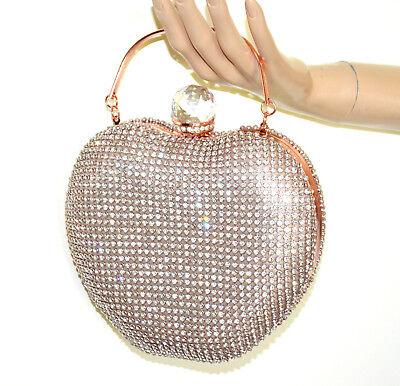 BOLSO CLUTCH bag mujer oro rosa cristal glitter elegante ceremonia fiesta G50