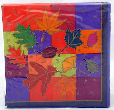 Falling Leaves Paper Beverage Napkins 16 ct Birthday Supplies Party Fall Leaf
