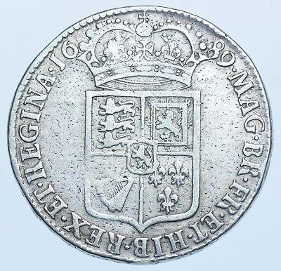 1689 HALFCROWN BRITISH SILVER COIN FROM WILLIAM & MARY GF