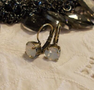 8mm CupChain WHITE OPAL/ANTIQUE BRASS Leverback Drop EARRINGS/Swarovski Crystals