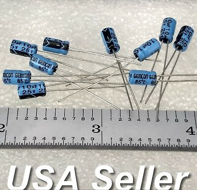 Lot Of 10 10uf 25v Gemcon Low-esr Electrolytic Capacitors - Fast Usa Shipping
