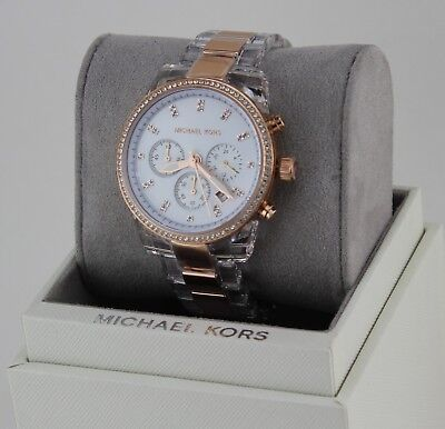 NEW AUTHENTIC MICHAEL KORS RITZ MIDSIZE CLEAR ROSE GOLD WOMEN'S MK6347 WATCH