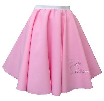 Grease Pink (Rock And Roll Pinkfarbener Damen Rock 1950er Grease Jive Kostüm)