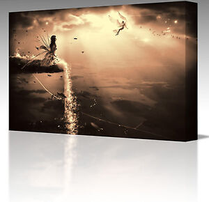 FANTASY ANGEL WATERFALL LANDSCAPE CANVAS ART PICTURE SEPIA GOLD FAIRY 16x12 Inch