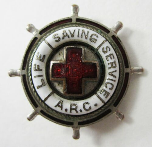 Vintage American Red Cross Life Saving Service Pin ARC Silver Tone Enamel
