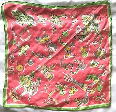 Vintage silk scarf 60s Paris theme New Years Eve can can girls green 16