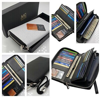 AG Wallets Women's RFID Blocking Cow Leather Zip Around Wallet Clutch Wristlet Cow Leather Women Zipper