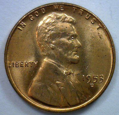 1953 D BU LINCOLN COPPER WHEAT CENT COIN UNCIRCULATED PENNY WHEATIE FROM BU ROLL