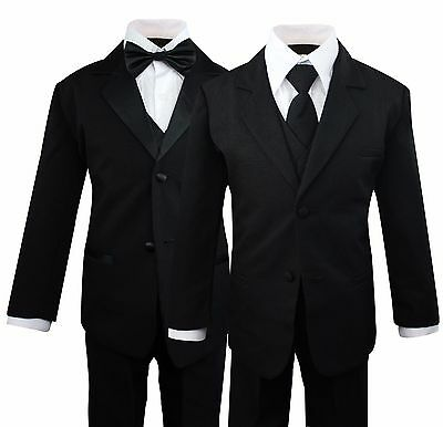 Boys Kids Children Formal Dress Black Suit Tuxedo Toddler 2T-14 Choose Style
