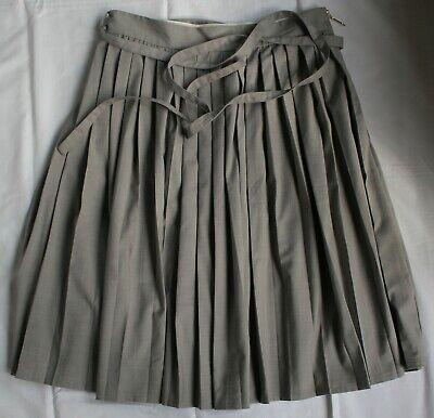 KAREN WALKER SKIRT grey cotton soft pleats with belt UK 8 / EU 36 / US 4
