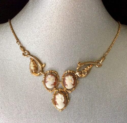 Circa 1980 Gold Filled 3 shell Cameo elegance necklace! Beautiful