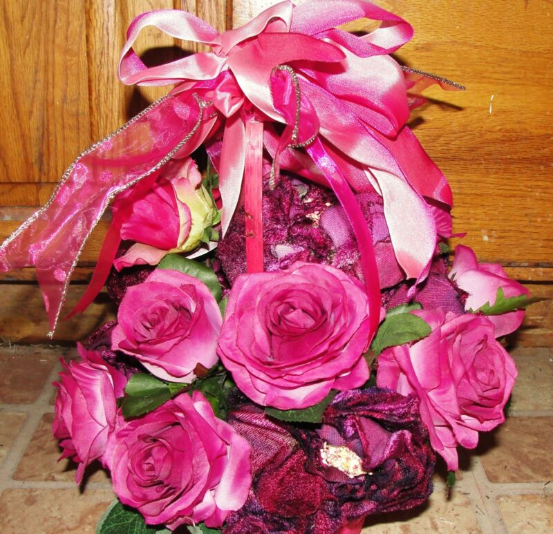 Breast Cancer Basket Pink Vintage Velvet Roses Burgundy / Mauve Silk Flowers