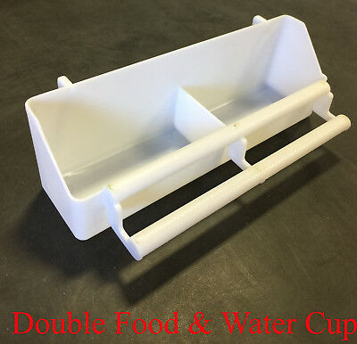 NEW Lot of 2 Double Bird Plastic Seed Food Water Feeder Plastic Cup - 250