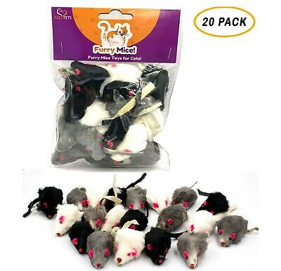 20 Furry Mice with Catnip & Rattle Sound Made of Real Rabbit Fur Cat Toy Mouse Fur Mouse Toy