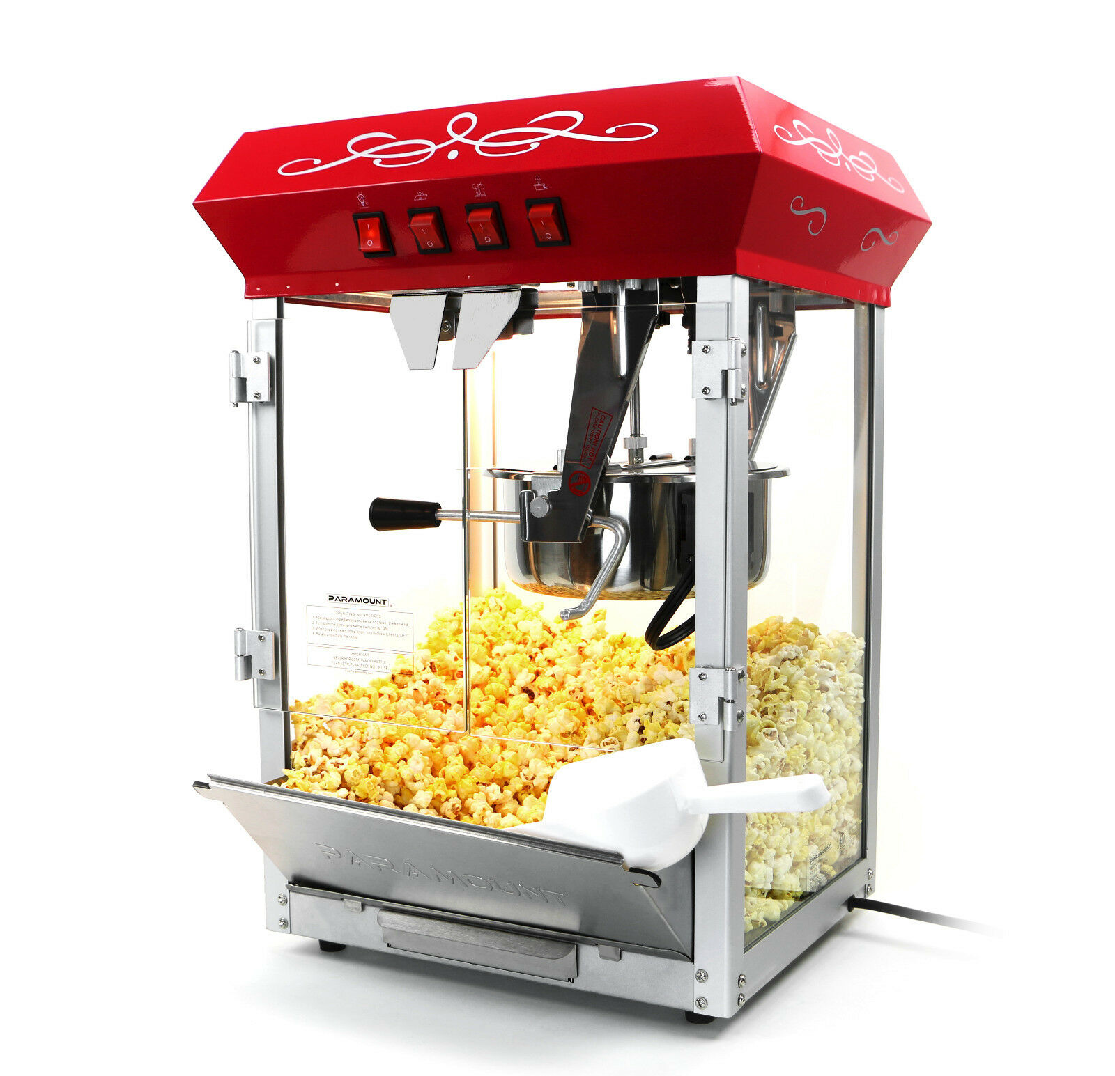 paramount 8oz popcorn maker machine new upgraded 8 oz hot oil popper red ebay. Black Bedroom Furniture Sets. Home Design Ideas