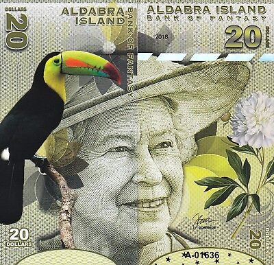 Aldabra Island 20 Dollars Unc 2018 Front And Back Side To Side Full Face Que Ii