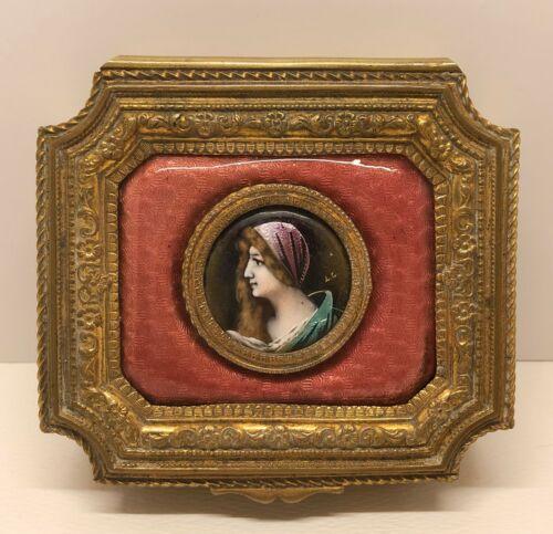 Antique France Dresser Box Artist Signed Hand Painted Enamel Portrait of Lady