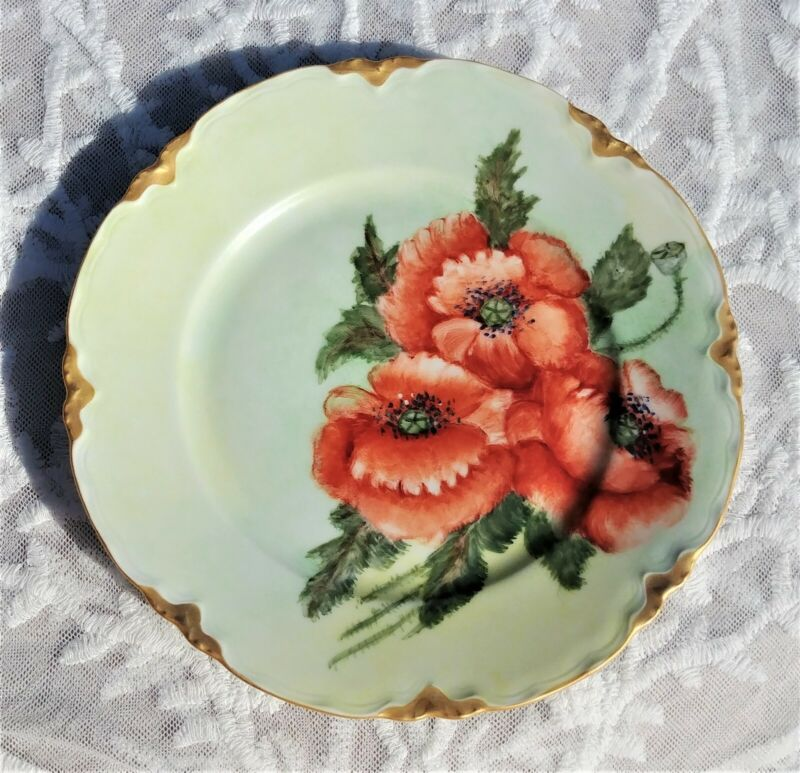 Vintage HUTSCHENREUTHER SELB LHS Bavaria German Hand Painted PLATE Poppies