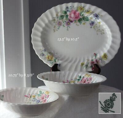 3 Royal Doulton Arcadia Floral Serving Platter & 2 Dish Fine Bone China England  ()