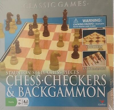 CLASSIC GAMES STAUNTON STYLE CHESS PIECES CHESS, CHECKERS & BACKGAMMON