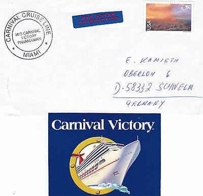 PANAMA CRUISE SHIP MS CARNIVAL VICTORY A SHIPS CACHED COVER & CUT DOWN PICTURE