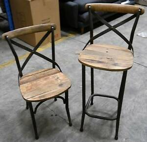 New French Industrial Metal Rustic Recycled Timber Chairs Stools Melbourne CBD Melbourne City Preview