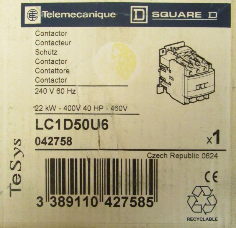 SQUARE D TELEMECANIQUE Contactor 240V 40 HP 3 Pole LC1D50U6