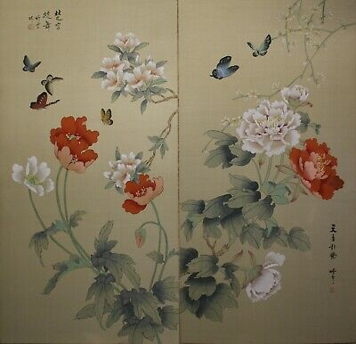 """12/"""" Chinese Original Watercolor SILK Painting Blue Butterfly Orange Red Flowers"""