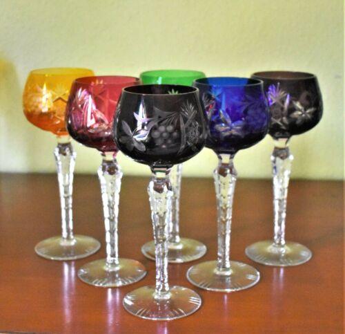 Bohemian Cut Crystal Multicolored Nachtmann Clear Cut Stem Set of 6 Wine Glasses