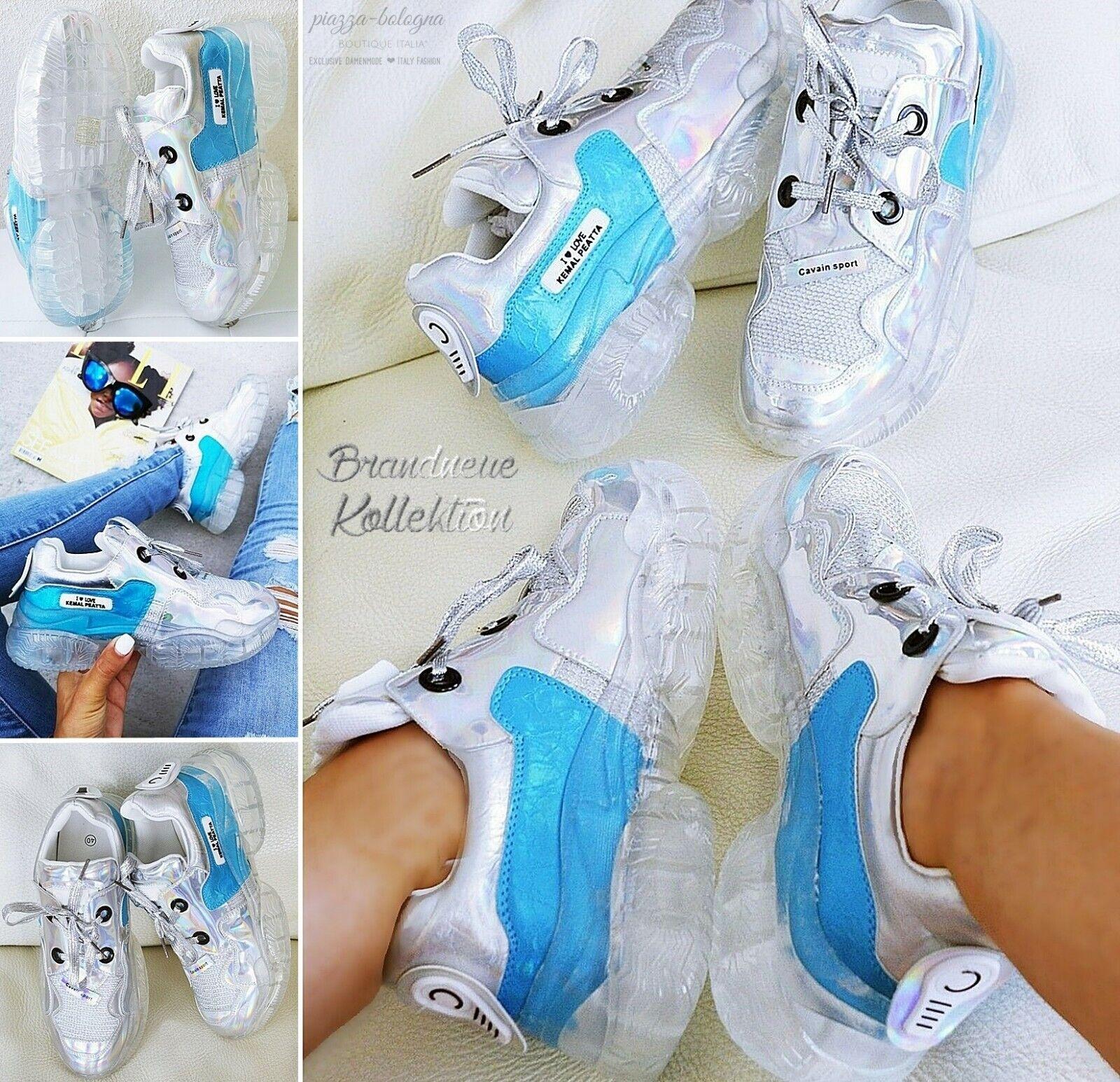 NEU GR. 41 Damen HOLO Glanz AIR Sportschuhe Sneakers Glitzer Regenbogen Blau-Mix