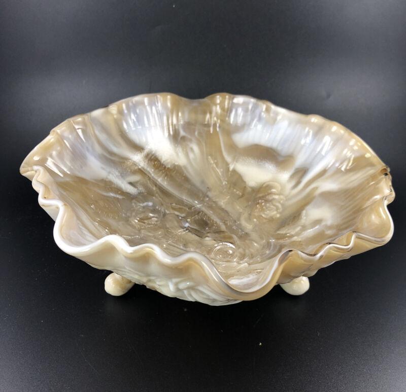 Imperial Glass Open Rose Caramel Slag Satin Doeskin Candy 3 Footed Bowl Vintage