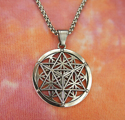 Merkabah on Flower of Life Necklace, Sacred Geometry Merkaba Pendant Merkavah