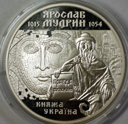 2001 Ukraine 10 Hryvnias Yaroslav the Wise Silver Proof Commemorative Coin