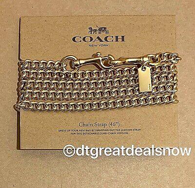 """NWT Coach F31126 Shoulder Crossbody 46"""" Chain Strap Gold Tone"""