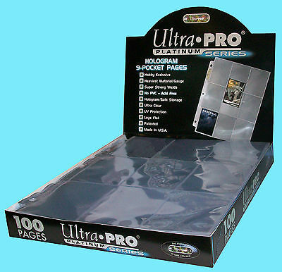 100 ULTRA PRO PLATINUM 9-POCKET Card Pages Sheets Protectors 1 box 209D (100 Ultra Pro Platinum 9 Pocket Sheets)