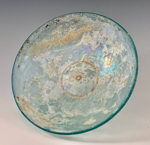 ANCIENT ROMAN BLUE GREEN GLASS BOWL; 100 BC - 100 AD INTACT, RAINBOW IRIDESCENCE