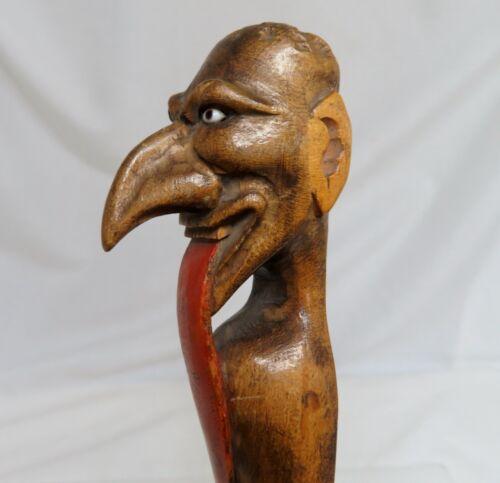 Antique Carved Wood Folk Art Devil Page Turner - 80599