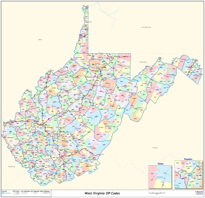 West Virginia State Zipcode Laminated Wall Map