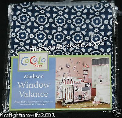 Cocalo Madison Window Valance nursery decor navy pink 53x12 nwt