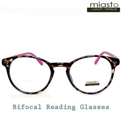 "MIASTO ""BIFOCAL"" ROUND PREPPY KEYHOLE READER READING GLASSES +1.75 TORTOISE PINK"