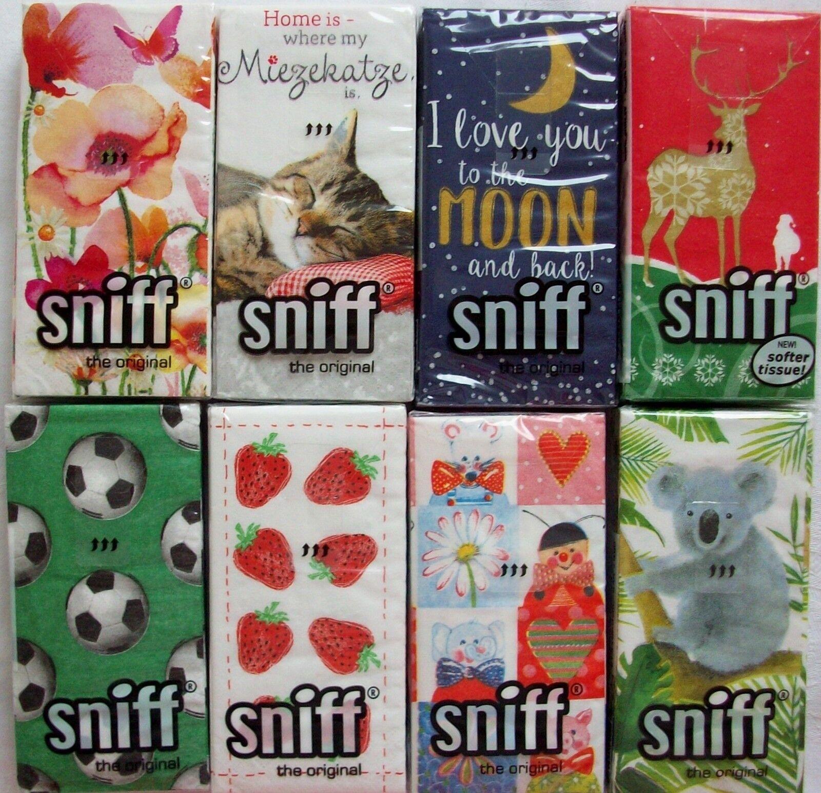Papier-Taschentücher - 10 Stück in OVP - sniff - Auswahl