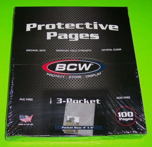 100 BCW PRO 3-POCKET PHOTO PAGES - 4X6 PHOTOS, POSTCARDS, ETC,ARCHIVAL SAFE